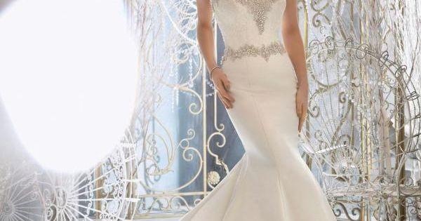 Robe de mariée sirène satin dentelle perles  robe de mariée ...