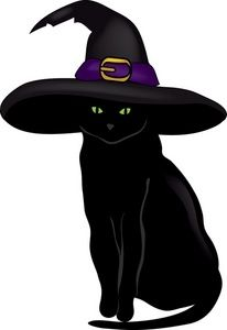Black Cat Clipart Image Halloween Black Cat Wearing A Witches Hat Ready To Put A Spell On You Cat Clipart Black Cat Tattoos Black Cat Art