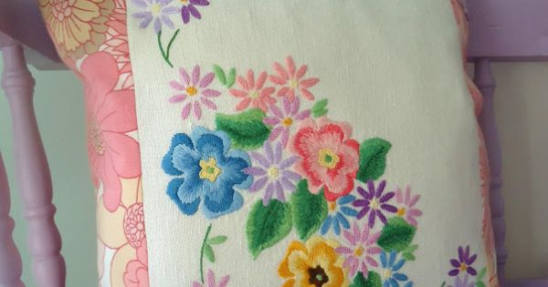 Wonderful way to repurpose vintage linens embroidery
