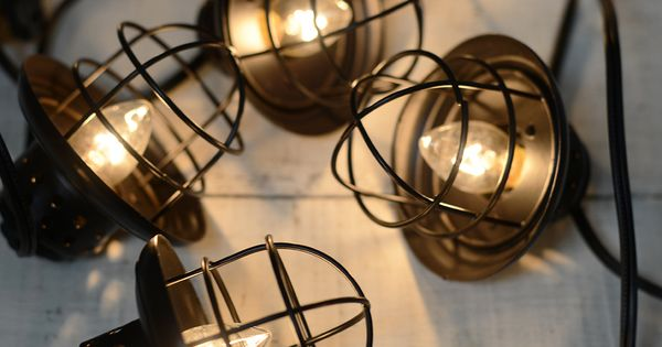 Nautical Cage String Lights Black 10ct Lantern String