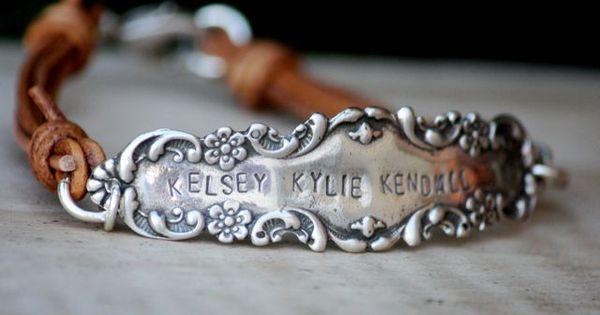 Antique Vintage Leather & Silver Bracelet, hand stamped