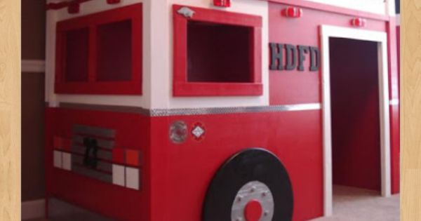 Fire truck loft bed woodworking plans mad scientist pinterest fire trucks woodworking - Fire engine bed plans ...