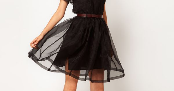 Black Silk Organza Dress / Antipodium- interesting shoe choice
