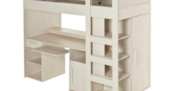 Lit mezzanine 90x200 cm montana code article 511213 - Lit mezzanine avec bureau pas cher ...