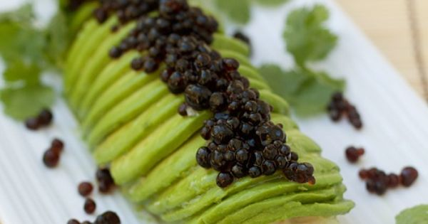 "Avocado Crab Roll with Soy Sauce ""Caviar"" 