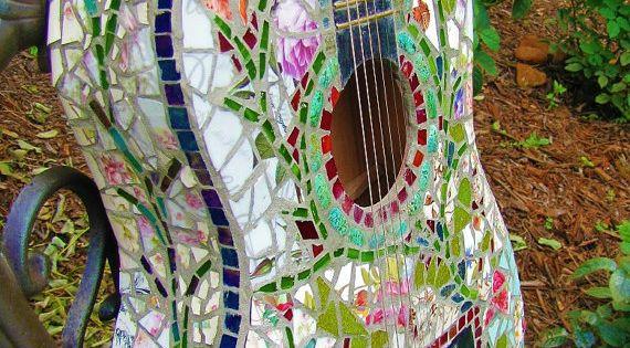 mosaic tile on guitar
