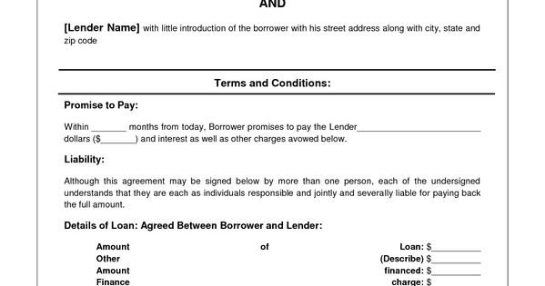 Printable Sample Personal Loan Contract Form – Sample of Loan Contract