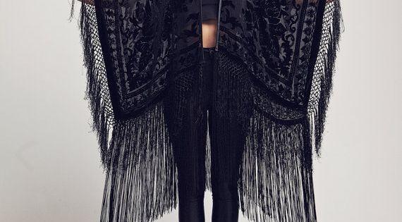 Black Velvet Fringe Kimono - The Black Rose, fashion, style, clothing, bohemian,