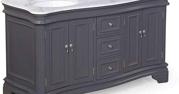 Amazon Com Katherine 60 Inch Double Bathroom Vanity Carrara Charcoal Gray Includes Charcoal Gray Cabinet With Authentic Italian Carrar In 2020 Double Vanity Bathroom