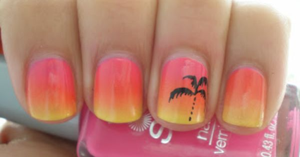 Tropical sunset nail design