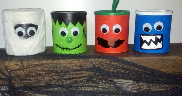 halloween decorations made from formula cans halloween crafts pinterest decoration craft. Black Bedroom Furniture Sets. Home Design Ideas
