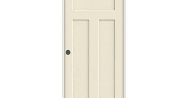 Jeld wen craftsman smooth 3 panel primed molded prehung for Double pocket door home depot