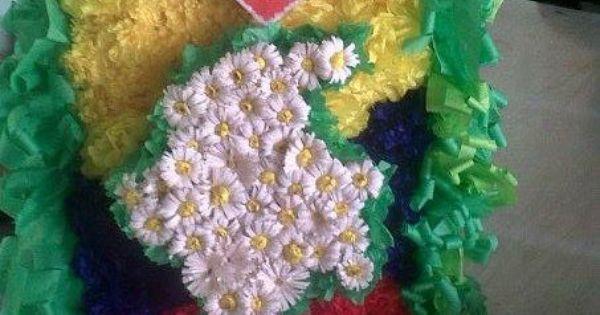 Silleta Hecha En Flores De Papel Escolar Pinterest