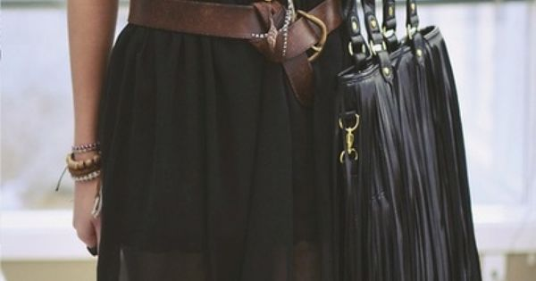 Sheer Black Skirt with belt & rust tank top with long fringe