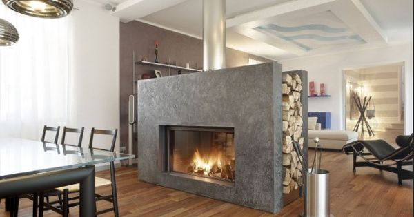Fireplace In The Middle Of The Room Home Pinterest