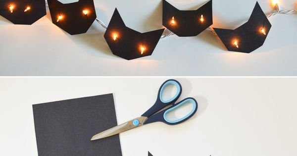Black Cat String Lights halloween diy