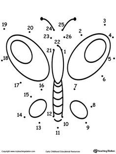 Learning To Count By Connecting The Dots 1 Through 26 Drawing A Butterfly Dot Worksheets Kindergarten Worksheets Connect The Dots
