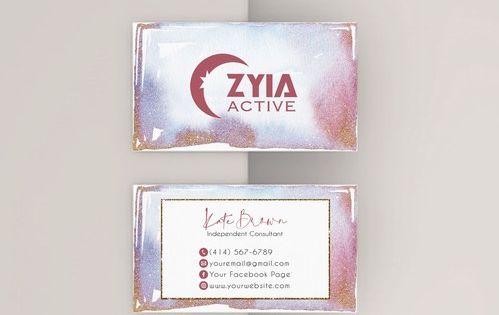 Personalized Zyia Active Business Card Glitter Zyia Business Za06 In 2020 Business Cards Watercolor Floral Business Cards Arbonne Business Cards