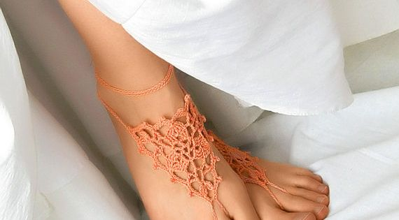 Peach Barefoot Sandles Orange Beach Wedding Shoes by ElvishThings, $14.50