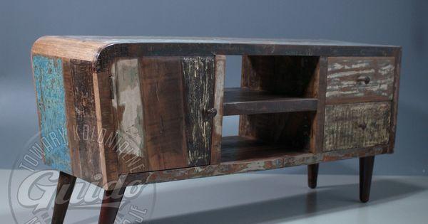 reclaimed wooden sideboard retro vintage industrial loft. Black Bedroom Furniture Sets. Home Design Ideas