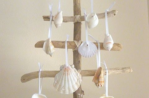 little bitty beachy Christmas tree crafted of driftwood and seashells