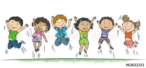 Let S Get Moving Happy Kids Kids Vector Cute Cartoon
