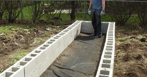Above ground garden fill cinder blocks with soil for for Cinder block pond ideas