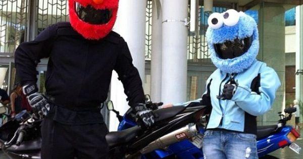 Elmo And Cookie Monster Sesame Street Motorcycle Helmet