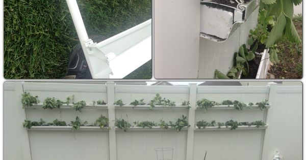 Diy planter vinyl shelves made from vinyl rain gutters for Plastic rain gutter bookshelf