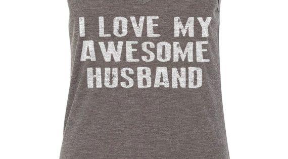 Valentine's Day I Love My Awesome Husband Flowy V-Neck Tank Women's Tank