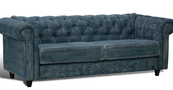 Gorgeous Unique Blue Denim Chesterfield Tufted Sofa New 85