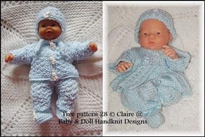Free Two Cosy Pram Sets 7 12 Inch Boys Knitting Dolls Clothes Baby Doll Clothes Baby Boy Knitting Patterns