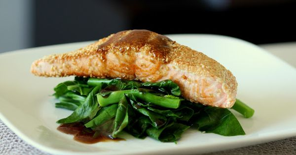 Sesame Crusted Salmon with Chinese Broccoli | Wandering Spice ...