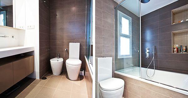 Ba o estilo moderno color beige marron blanco interiorismo y decoraci n pinterest Interiorismo banos modernos