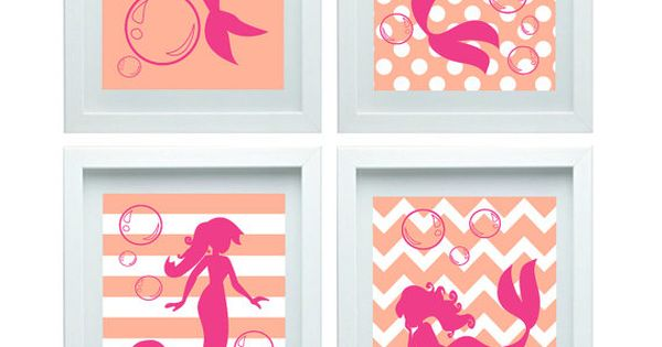 Mermaid nursery decor print girl room decor baby bathroom for Pink and orange bathroom ideas