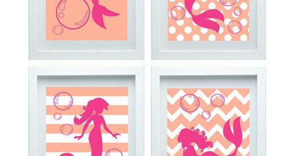Mermaid nursery decor print girl room decor baby bathroom for Pink and orange bathroom ideas