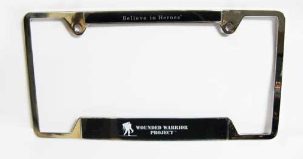Metal License Plate Frame With Believe In Heroes Logo On