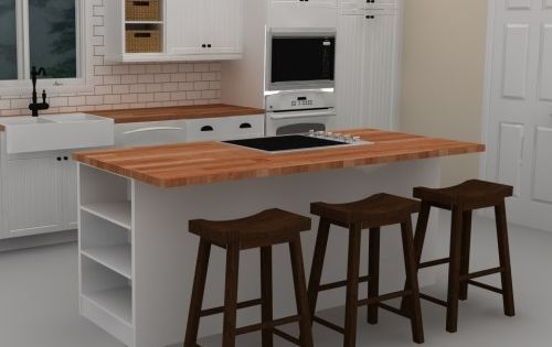 This white IKEA kitchen island includes a cooktop to provide an efficient work ...