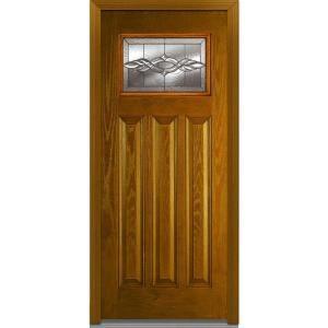 Mmi Door 36 In X 80 In Brentwood Left Hand Craftsman 1 4 Lite 3 Panel Classic Stained Fiberglass Oak Prehung Front Door Z000172l The Home Depot Fiberglass Entry Doors Glass Decor Front Door