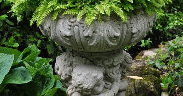 Fern in garden urn...