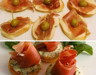 Tapas de prosciutto aceitunas y queso philadelphia for Prosciutto canape