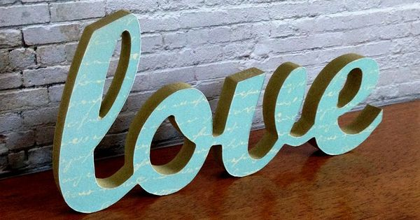Love letter wooden freestanding script word sign plaque for Living room 6 letters