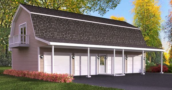 Garage plan with apartment home pinterest gambrel for Gambrel barn plans with living quarters