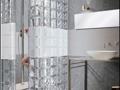 Douche brique de verre jpg salle de bain pinterest for Douche bloc de verre