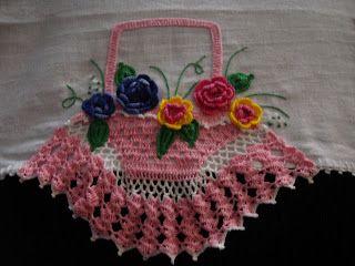 Val Croches Pano De Prato Cesta De Croche Com Flores Pano De