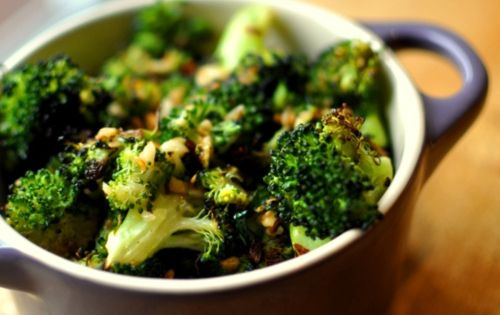 spicy, garlicky, roasted broccoli