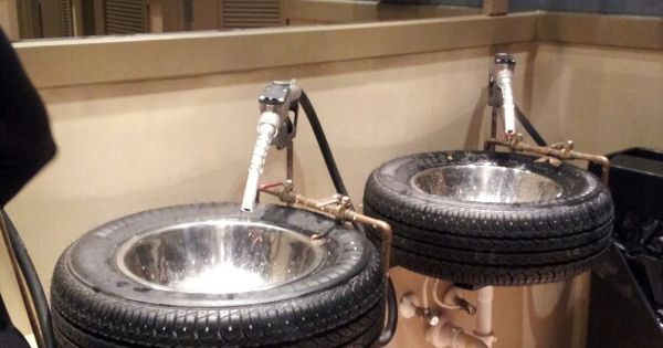 Sinks in a restaurant bathroom.  Home decor and more  Pinterest  화장실 및 ...