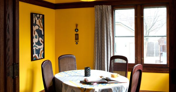 Dining Room Bright Yellow Walls With Beige Ceiling Dark
