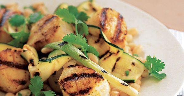 Grilled Scallops, Zucchini, and Scallions with White Beans ...