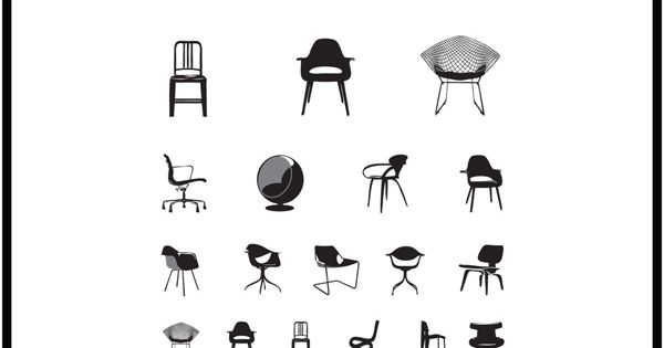 eye exam chart using mid-century modern chairs by blue ant studio